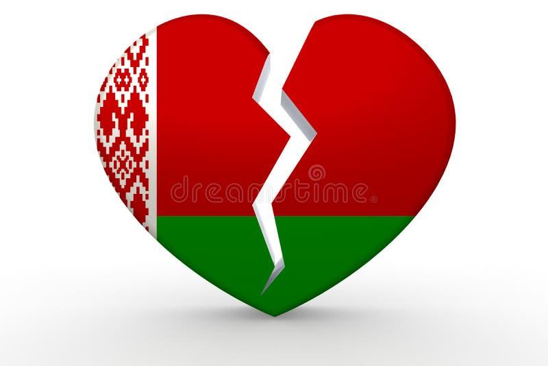Σπασμένη άσπρη μορφή καρδιών με τη λευκορωσική σημαία διανυσματική απεικόνιση