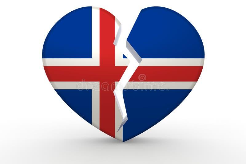 Σπασμένη άσπρη μορφή καρδιών με τη σημαία της Ισλανδίας διανυσματική απεικόνιση