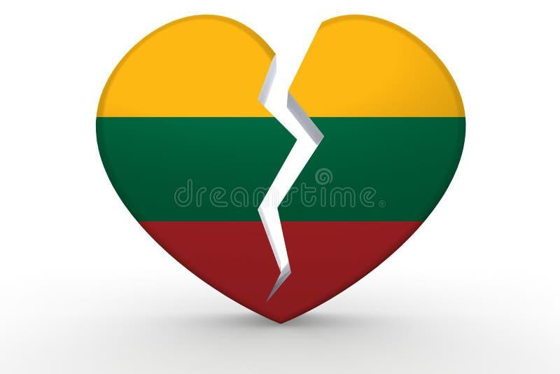 Σπασμένη άσπρη μορφή καρδιών με τη σημαία της Λιθουανίας διανυσματική απεικόνιση