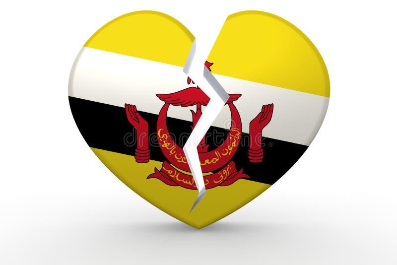 Σπασμένη άσπρη μορφή καρδιών με τη σημαία του Μπρουνέι απεικόνιση αποθεμάτων