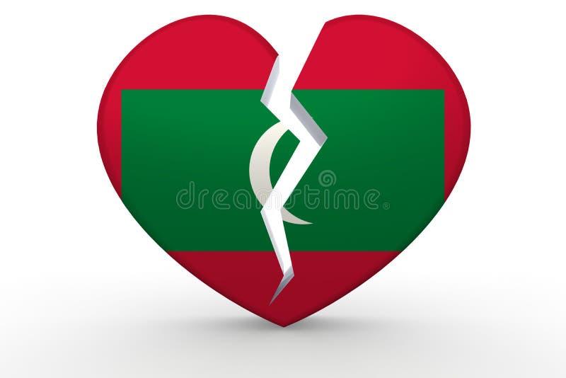 Σπασμένη άσπρη μορφή καρδιών με τη σημαία των Μαλδίβες ελεύθερη απεικόνιση δικαιώματος