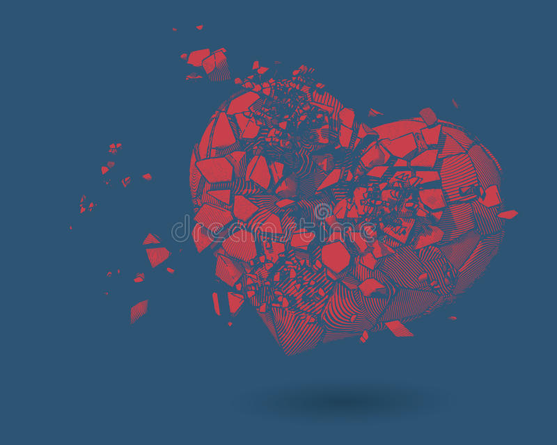 Σπασμένη απεικόνιση σχεδίων καρδιών στο μπλε BG στοκ φωτογραφία με δικαίωμα ελεύθερης χρήσης