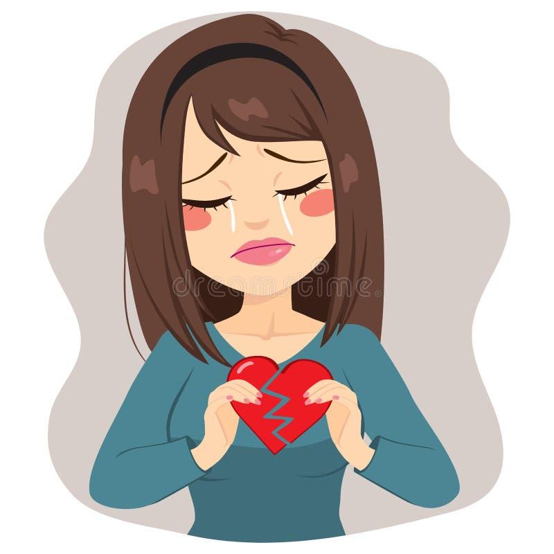 Σπασμένη γυναίκα καρδιά διανυσματική απεικόνιση