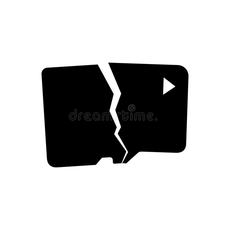 Σπασμένη κάρτα μνήμης ελεύθερη απεικόνιση δικαιώματος