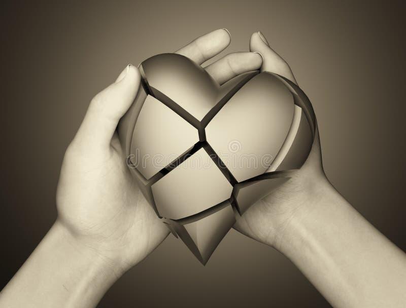 Σπασμένη καρδιά στο χέρι μιας γυναίκας διανυσματική απεικόνιση