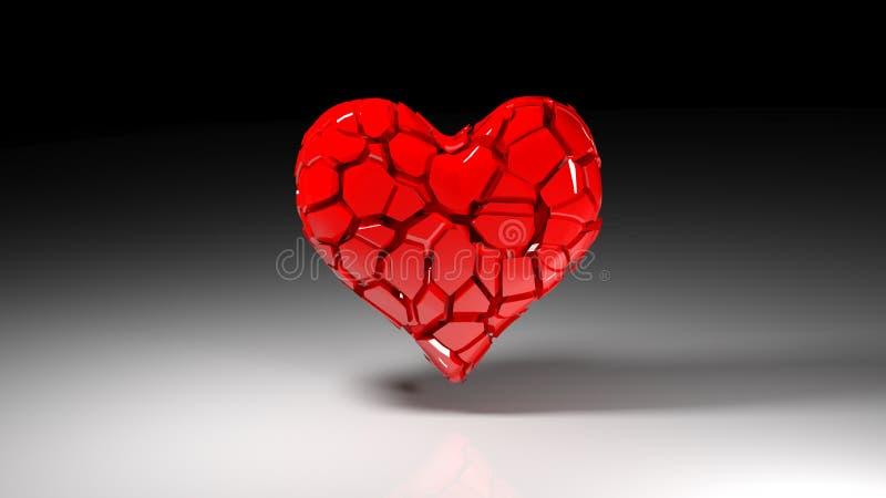 Σπασμένη καρδιά στο σκοτεινό υπόβαθρο διανυσματική απεικόνιση