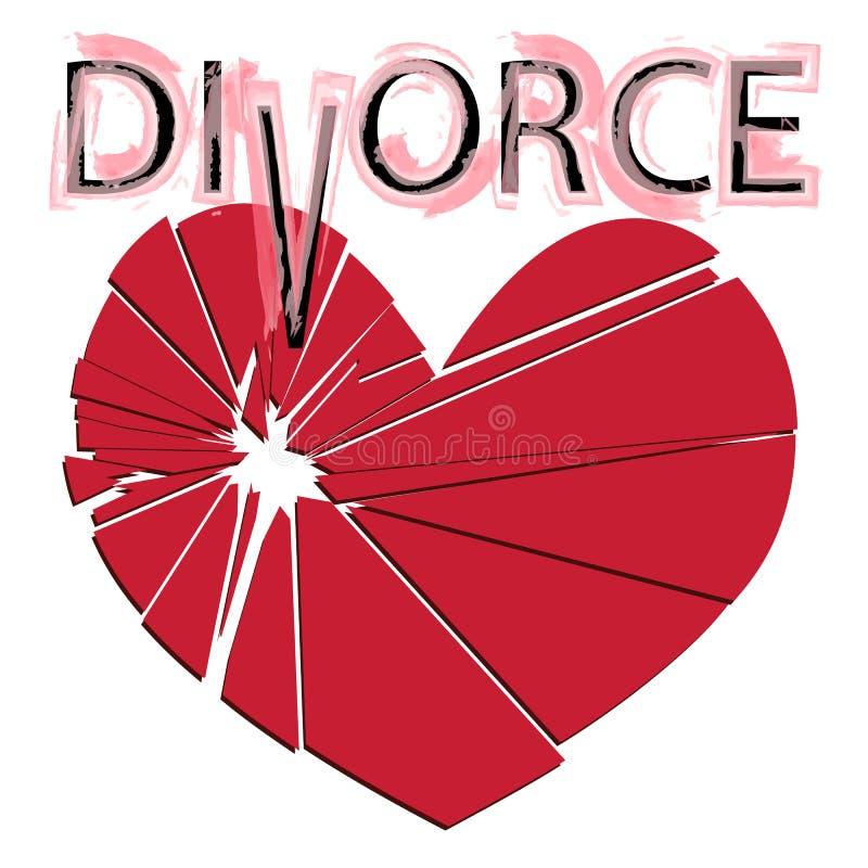 Σπασμένη κόκκινη καρδιά σε ένα άσπρο υπόβαθρο Έννοια - διαζύγιο, separ ελεύθερη απεικόνιση δικαιώματος