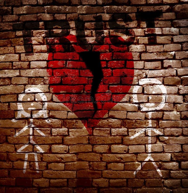 Σπασμένη κόκκινη καρδιά εμπιστοσύνης στοκ φωτογραφίες με δικαίωμα ελεύθερης χρήσης