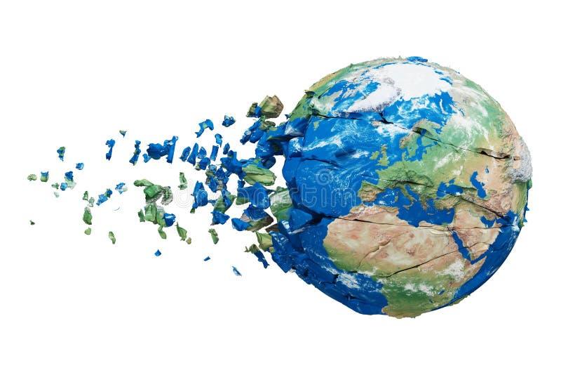 Σπασμένη σφαίρα πλανήτη Γη που απομονώνεται στο άσπρο υπόβαθρο Μπλε και πράσινος ρεαλιστικός κόσμος με τα μόρια και τα συντρίμμια απεικόνιση αποθεμάτων