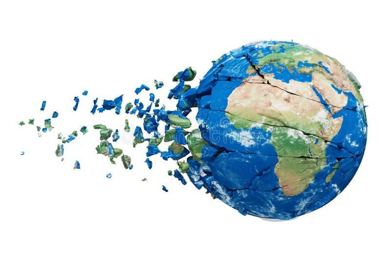 Σπασμένη σφαίρα πλανήτη Γη που απομονώνεται στο άσπρο υπόβαθρο Μπλε και πράσινος ρεαλιστικός κόσμος με τα μόρια και τα συντρίμμια ελεύθερη απεικόνιση δικαιώματος