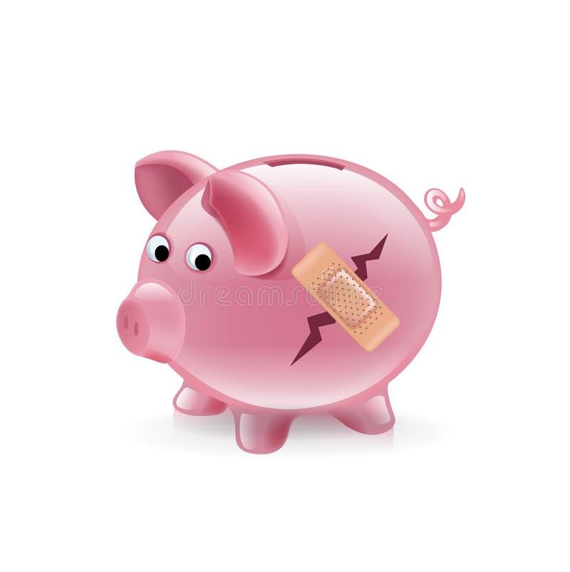Σπασμένη piggy τράπεζα με τον επίδεσμο  ελεύθερη απεικόνιση δικαιώματος