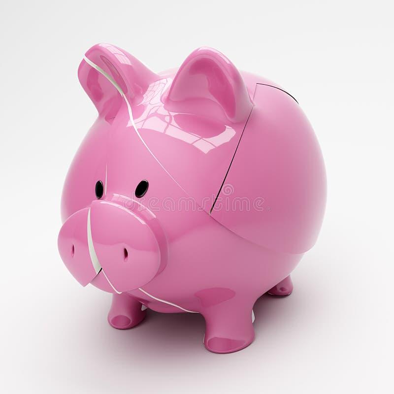 Σπασμένη Piggy τράπεζα Στοκ Φωτογραφία