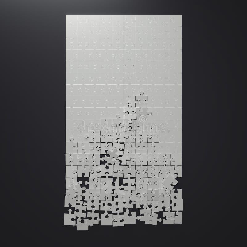 Σπασμένος άσπρος γρίφος τρισδιάστατη απόδοση απεικόνιση αποθεμάτων