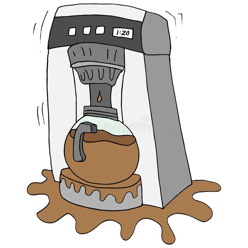 Σπασμένος κατασκευαστής καφέ διανυσματική απεικόνιση