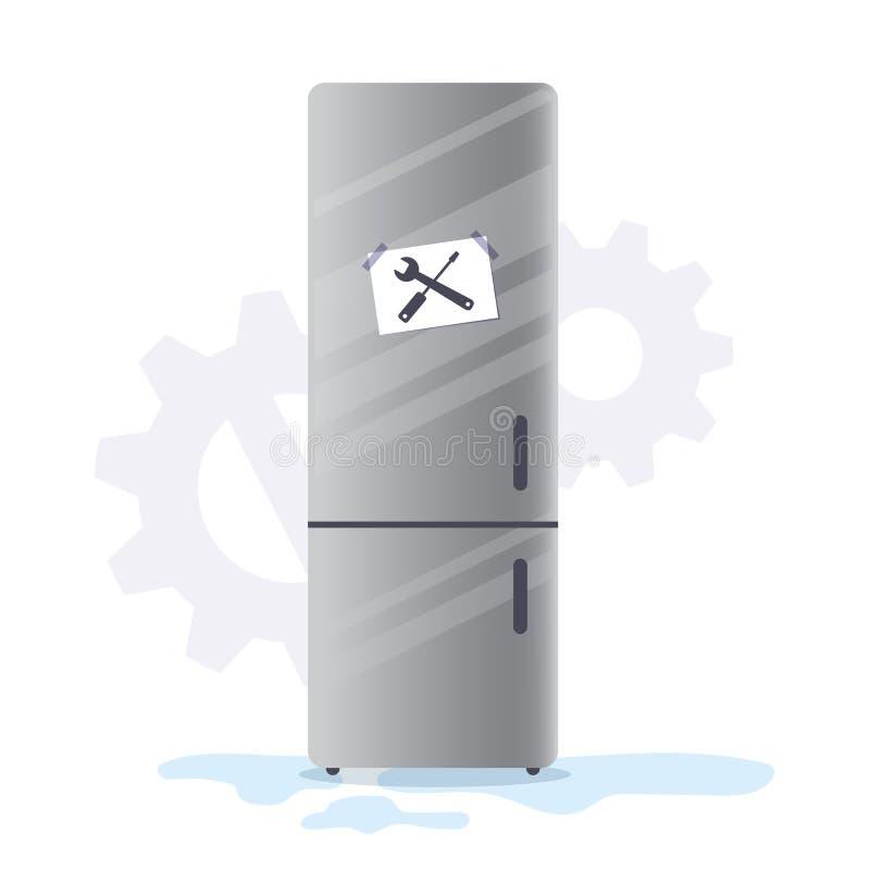 Σπασμένος οικιακός ψυκτήρας συσκευών εγχώριων κουζινών ψυγείων με τις σημειώσεις σημαδιών επισκευής Διανυσματικό ψυγείο χρωμίου α απεικόνιση αποθεμάτων