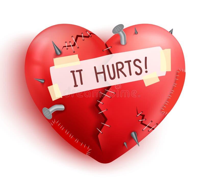 Σπασμένος πληγωμένος καρδιών στο κόκκινο χρώμα με τις βελονιές και τα μπαλώματα απεικόνιση αποθεμάτων