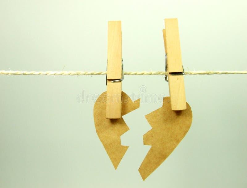 σπασμένο έγγραφο καρδιών στοκ φωτογραφίες
