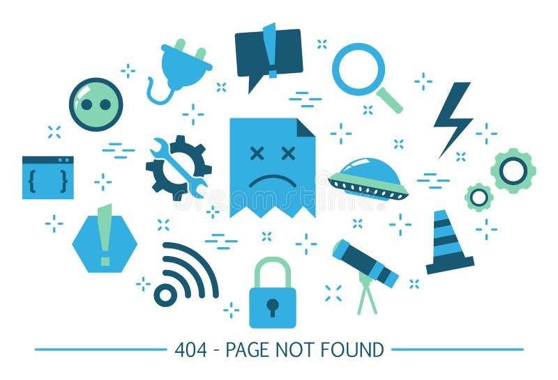 Σπασμένο έμβλημα ιστοχώρου σελίδα 404 λάθους που δεν βρίσκεται διανυσματική απεικόνιση
