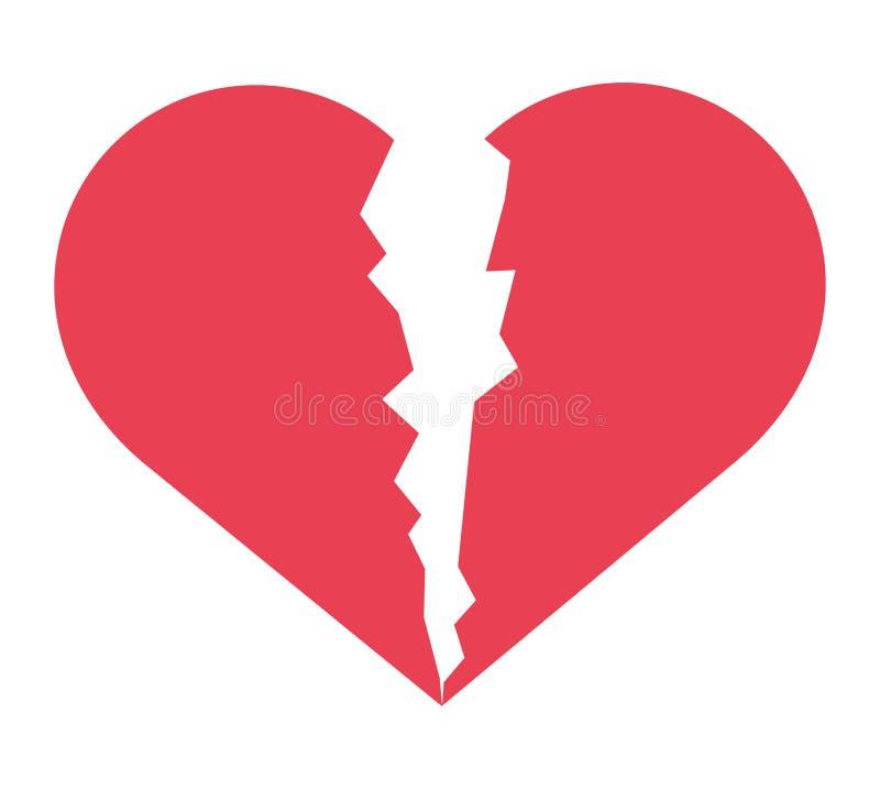 Σπασμένο αγάπη εικονίδιο καρδιών διανυσματική απεικόνιση