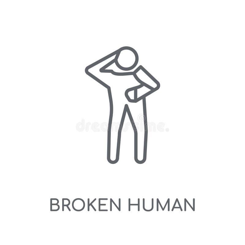 σπασμένο ανθρώπινο γραμμικό εικονίδιο Σύγχρονο σπασμένο περίληψη ανθρώπινο conce λογότυπων ελεύθερη απεικόνιση δικαιώματος