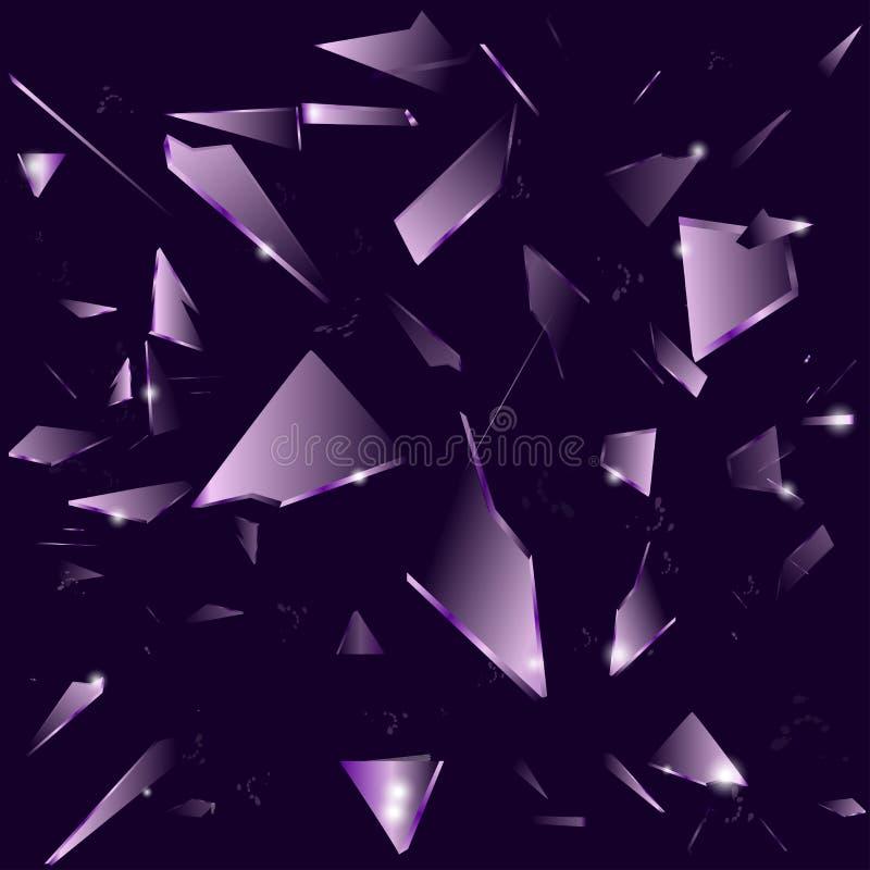 Σπασμένο γυαλί στο σκοτεινό πορφυρό υπόβαθρο διανυσματική απεικόνιση