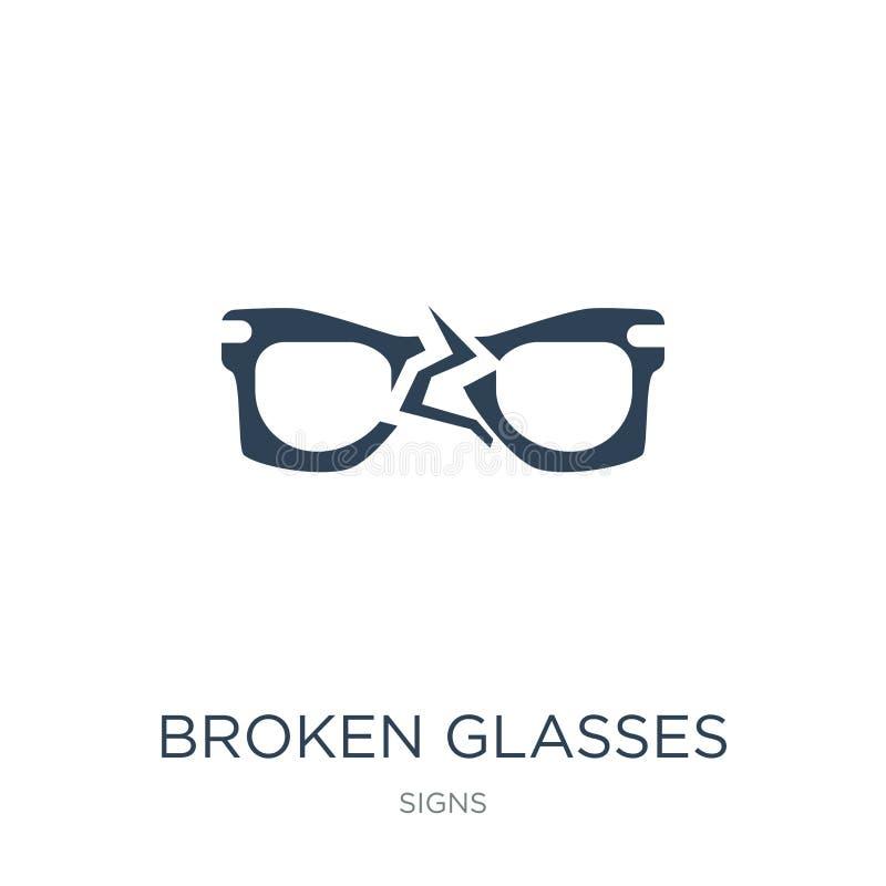 σπασμένο εικονίδιο γυαλιών στο καθιερώνον τη μόδα ύφος σχεδίου σπασμένο εικονίδιο γυαλιών που απομονώνεται στο άσπρο υπόβαθρο σπα απεικόνιση αποθεμάτων