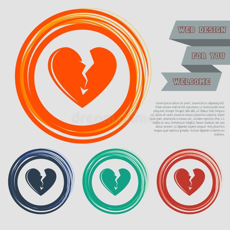 Σπασμένο εικονίδιο καρδιών στα κόκκινα, μπλε, πράσινα, πορτοκαλιά κουμπιά για τον ιστοχώρο και το σχέδιό σας με το διαστημικό κεί ελεύθερη απεικόνιση δικαιώματος