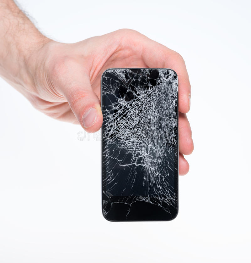 Σπασμένο εκμετάλλευση smartphone ατόμων στοκ εικόνα