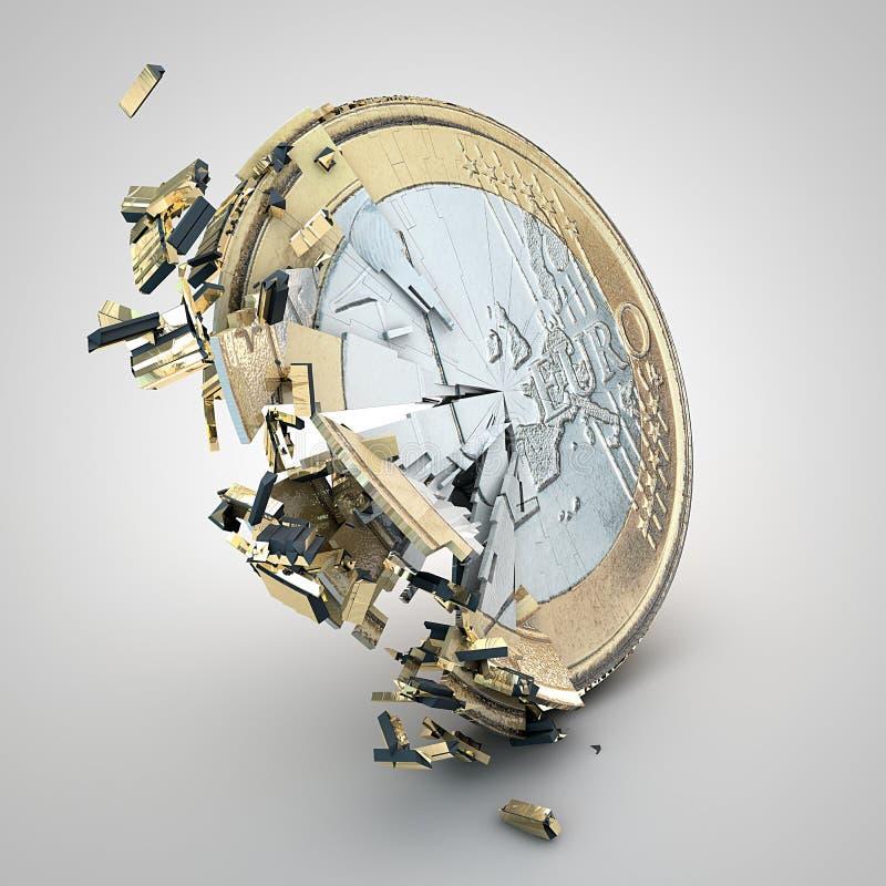 Σπασμένο ευρο- νόμισμα διανυσματική απεικόνιση