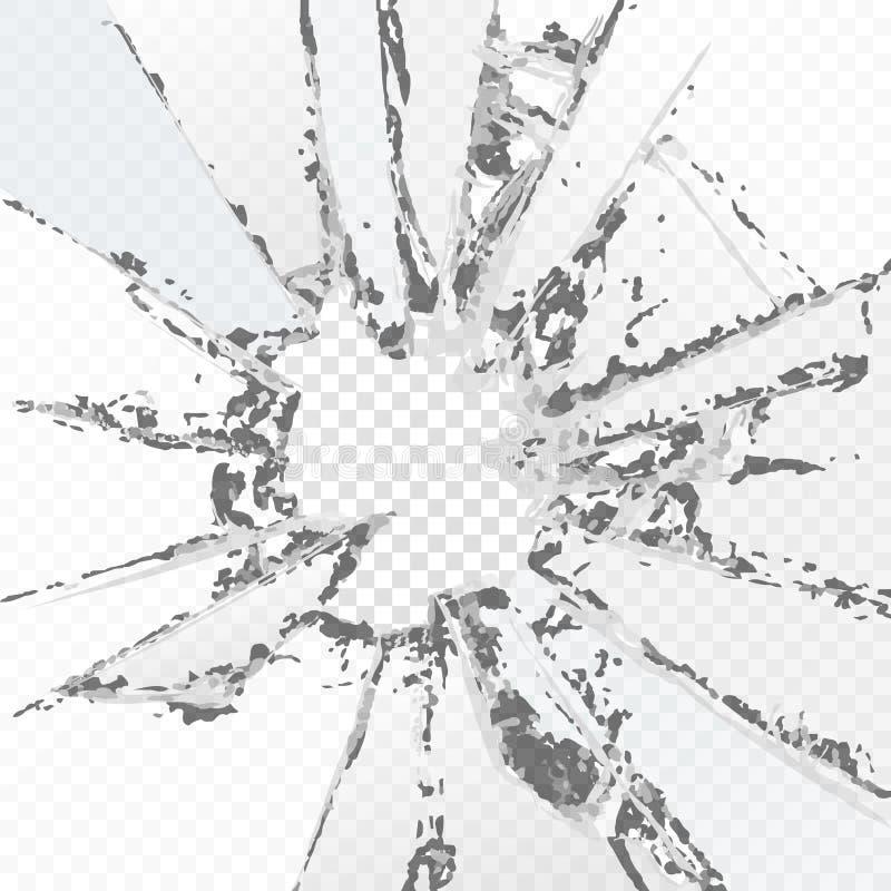 Σπασμένο διάνυσμα γυαλί, σε ένα υπόβαθρο καρό Με την επίδραση της διαφάνειας στοκ εικόνες με δικαίωμα ελεύθερης χρήσης