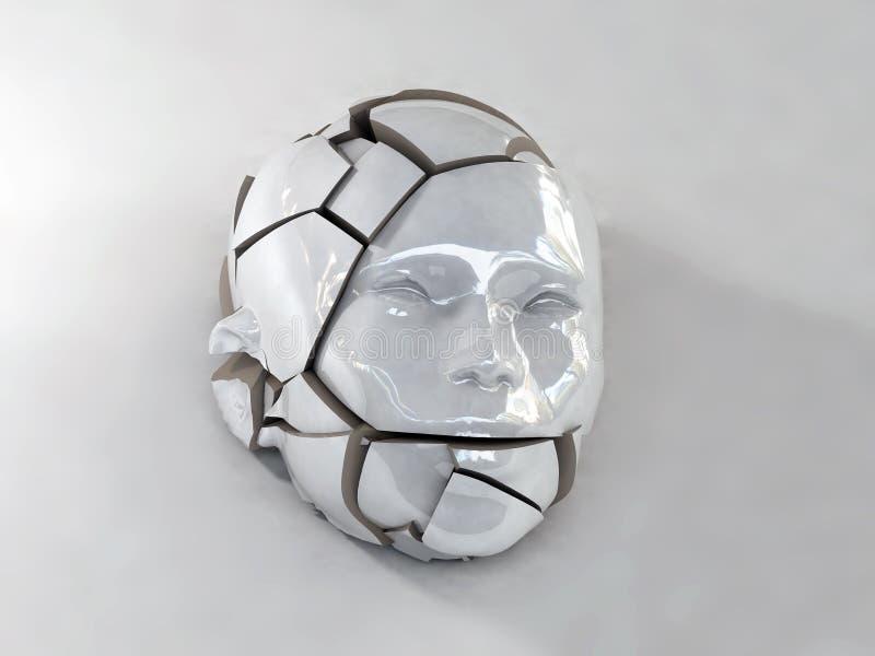 Σπασμένο κεφάλι πορσελάνης ελεύθερη απεικόνιση δικαιώματος