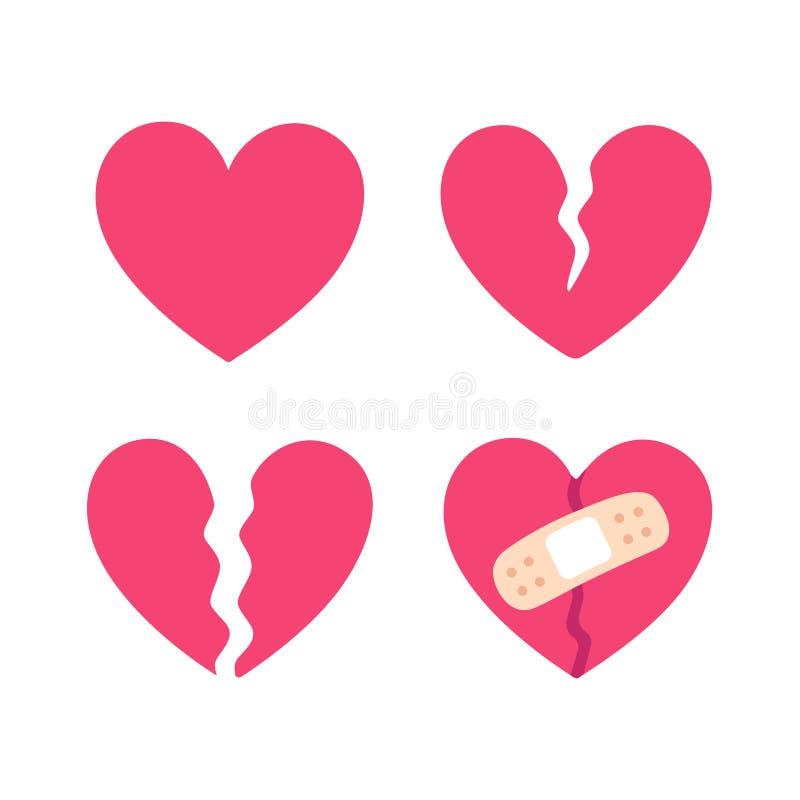 Σπασμένο κινούμενα σχέδια σύνολο καρδιών διανυσματική απεικόνιση