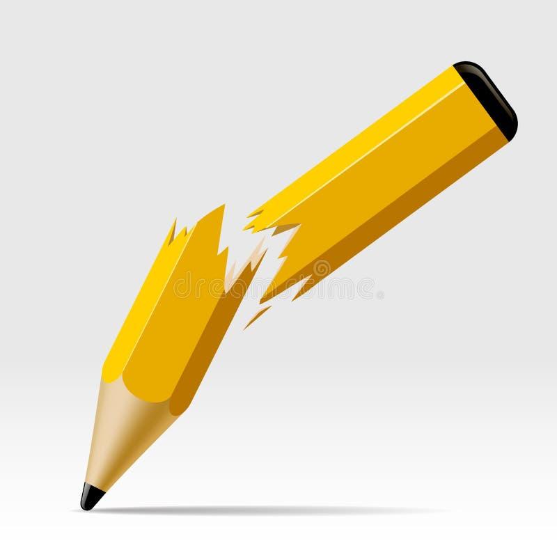 Σπασμένο μολύβι στο λευκό ελεύθερη απεικόνιση δικαιώματος