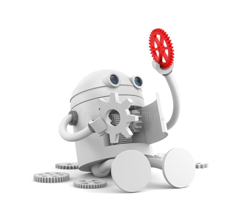 Σπασμένο ρομπότ με τις λεπτομέρειες του μηχανισμού του Για τα προγράμματα ιστοχώρου σας ελεύθερη απεικόνιση δικαιώματος