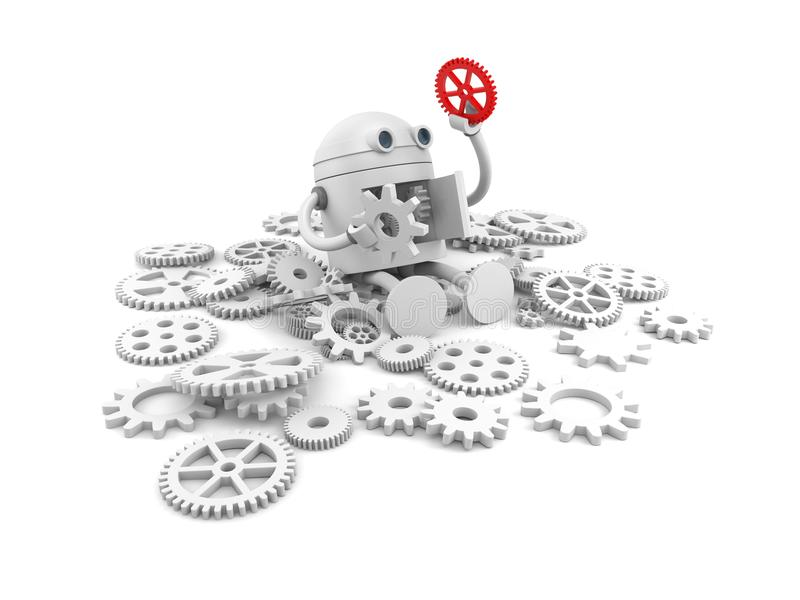 Σπασμένο ρομπότ με τις λεπτομέρειες του μηχανισμού του Για τα προγράμματα ιστοχώρου σας διανυσματική απεικόνιση
