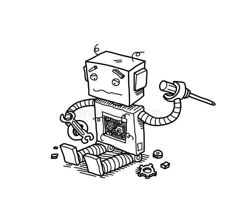 σπασμένο ρομπότ διανυσματική απεικόνιση