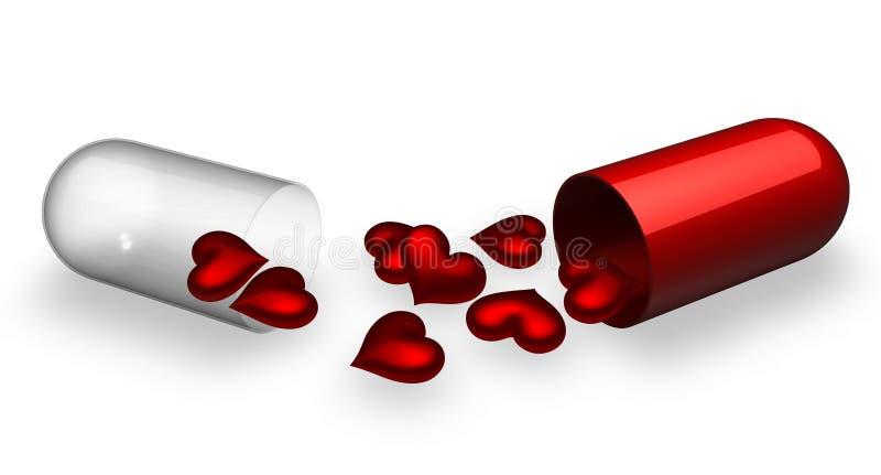 σπασμένο χάπι αγάπης απεικόνιση αποθεμάτων