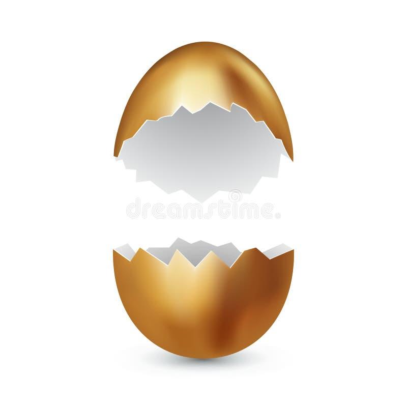 Σπασμένο χρυσό αυγό στο άσπρο υπόβαθρο Ραγισμένο χρυσό κοχύλι σπασμένο ασπράδι Έννοια αιφνιδιαστικών δώρων διάνυσμα ελεύθερη απεικόνιση δικαιώματος