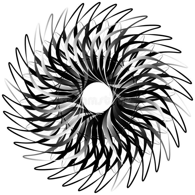 Σπείρα που απομονώνεται στο λευκό Περιστρεφόμενος, ομόκεντρη μορφή που διαμορφώνει ένα γ απεικόνιση αποθεμάτων