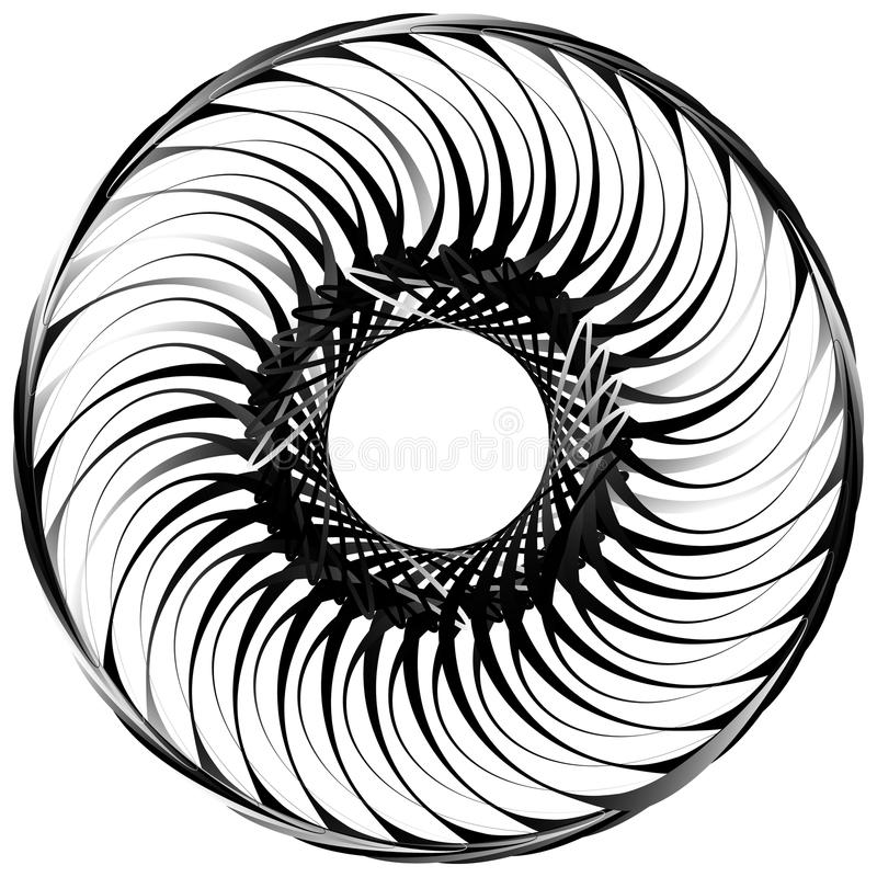 Σπείρα που απομονώνεται στο λευκό Περιστρεφόμενος, ομόκεντρη μορφή που διαμορφώνει ένα γ ελεύθερη απεικόνιση δικαιώματος