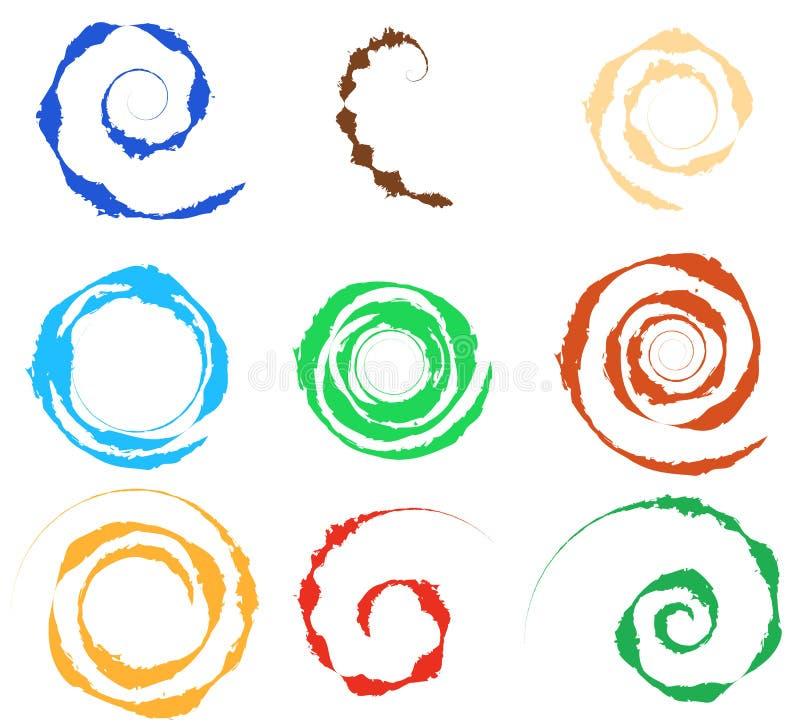 Σπείρα, σύνολο στοιχείων δίνης 9 διαφορετικές κυκλικές μορφές σπείρα διανυσματική απεικόνιση
