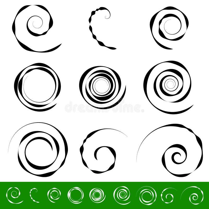Σπείρα, σύνολο στοιχείων δίνης 9 διαφορετικές κυκλικές μορφές σπείρα ελεύθερη απεικόνιση δικαιώματος