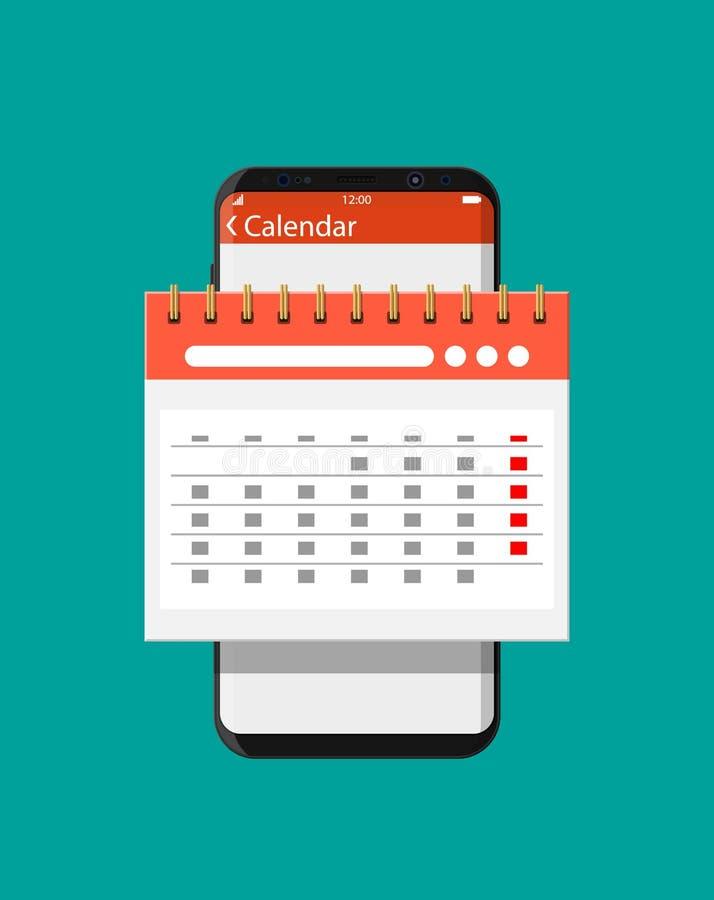 Σπειροειδές ημερολόγιο τοίχων εγγράφου στο smartphone διανυσματική απεικόνιση