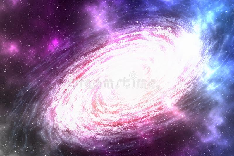 Σπειροειδής γαλαξίας με τα αστέρια και νεφέλωμα κάπου στο βαθύ διάστημα απεικόνιση αποθεμάτων