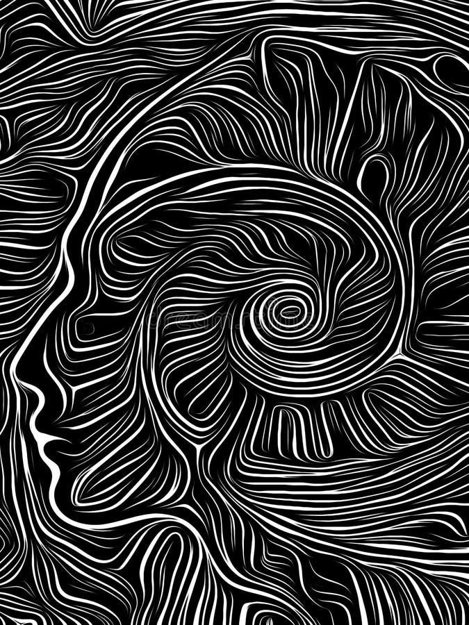Σπειροειδής ξυλογραφία εγκεφάλου διανυσματική απεικόνιση