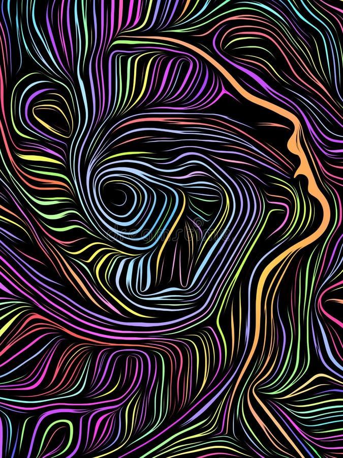 Σπειροειδής ξυλογραφία μυαλού διανυσματική απεικόνιση