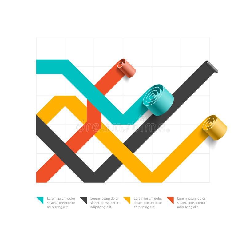 Σπειροειδές διάγραμμα επιχειρησιακών γραμμών, πρότυπο γραφικών παραστάσεων, στοιχείο infographics διανυσματική απεικόνιση