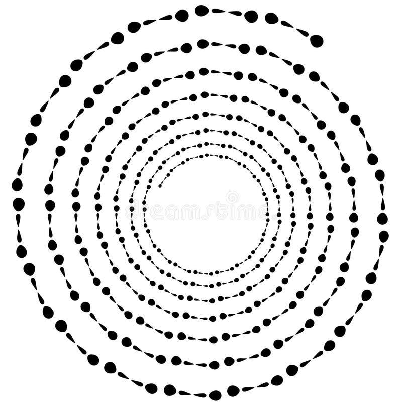 Σπειροειδές στοιχείο Ομόκεντρη στροβιλιμένος μορφή με τις γραμμές που περιστρέφονται μέσα διανυσματική απεικόνιση