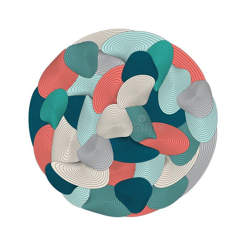 Σπειροειδής διακόσμηση κύκλων Op ευθυγραμμισμένο τέχνη mandala Χρωματίζοντας βιβλίο διανυσματική απεικόνιση