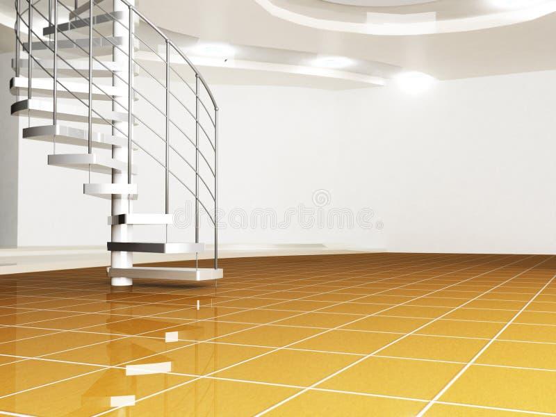 Σπειροειδής σκάλα στο λόμπι απεικόνιση αποθεμάτων